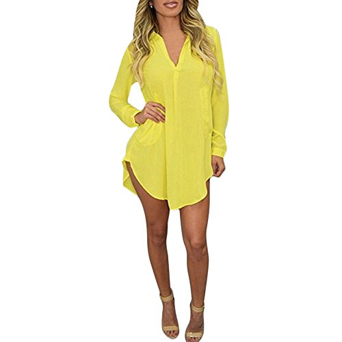 Dress Sexy Yellow (YOUCOO Women's V Neck Long Sleeve Shirt Dress Yellow With)