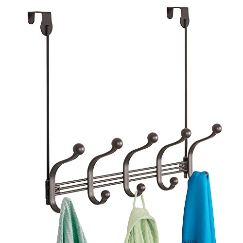 (iDesign York Metal 5-Hook Over-the-Door or Wall Mount Rack for Coats, Hats, Scarves, Towels, Robes, Jackets, Purses, 15.62