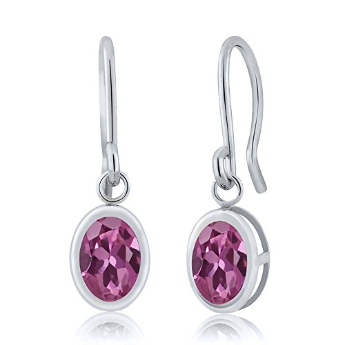 1.70 Ct Oval Pink Tourmaline 925 Sterling Silver Frenc Wire Dangling - Tourmaline Pink Earrings
