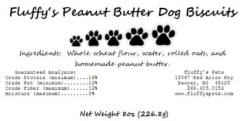 Fluffy's All Natural Homemade Peanut Butter Dog Biscuits, My Pet Supplies