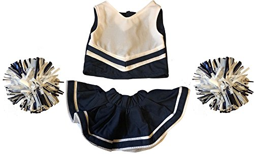 Cheerleader Outfit Teddy Bear Clothes Fit 15 inch Build-A-Bear, Vermont Teddy Bears, American Girl Doll and Make Your Own Stuffed Animals (Navy And White)