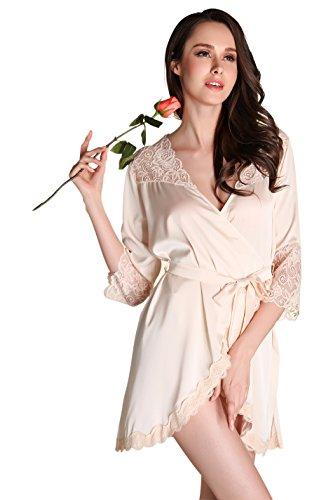 da Per Pigiami Corta Semplice Di Pizzo Champagne Vestaglia e Notte Kimono Donna Classic Raso Con Camicie Biancheria Swq174W5