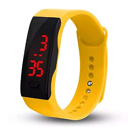Souarts Children Electronic Watch LED Touch Smart Dial Silicone Watch Strap (Yellow) (Dial Womens Yellow)