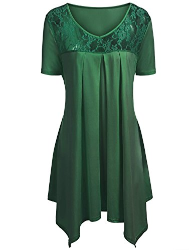 IN'VOLAND Plus Size Lace Detailed Asymmetrical Hem Flowy Tunic Top Womens Boat Neck Swing Shirt Dress