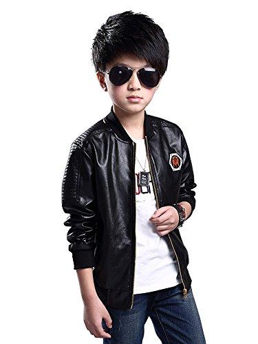 Leather Baseball Jacket (OCHENTA Boy's Zip Front Baseball Style Faux Leather Motorcyle Bomber Jacket Black 160CM(62.9