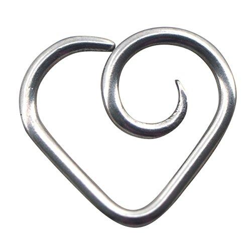 Heart Titanium Earrings - OUFER 16Gauge Grade 23 Titanium No Allergy Swirl Heart Daith Earrings Tragus Hoop Earrings Body Jewelry-Sold Individually