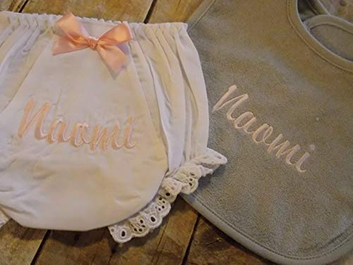 Baby girl bloomers and bib set personalized embroider