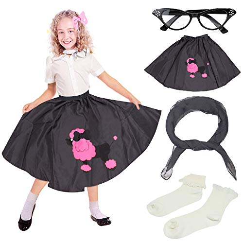 Beelittle 4 Pieces 50s Girls Costume Accessories Set - Vintage Poodle Skirt, Chiffon Scarf, Cat Eye Glasses, Bobby Socks (D-Black)]()