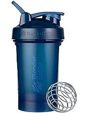Garrafa coqueteleira clássica V2 para shakes de proteína e pré-treino, 590 ml, azul marinho