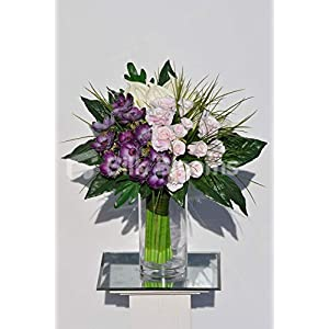 Silk Blooms Ltd Artificial Purple Fresh Touch Anemone,Rose and Anthurium Arrangement w/Leaves and Grass 9