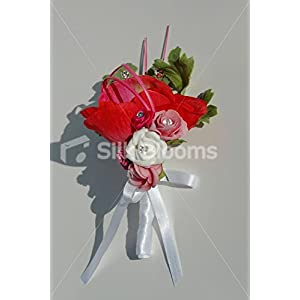 Red Anemone & Pink Roses Groom Buttonhole with Cystal Sprays 86