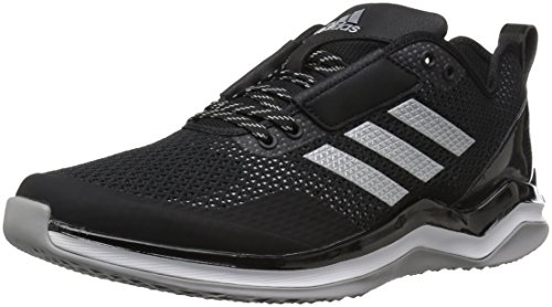 adidas Performance Men's Speed Trainer 3.0 Shoes, Black/Metallic Silver/White, (11.5 Medium US) Athletic Baseball Cleats