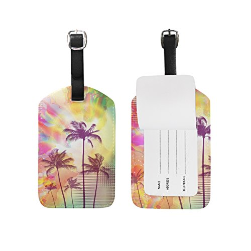 - Palm Trees with Sunset Luggage Tags,Bag Tags Travel ID Labels For Baggage Suitcases