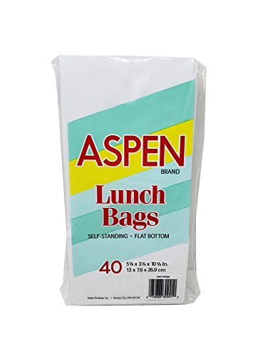 Flat Bags Paper Bottom (40 ct White Paper Lunch Bag Self Standing Flat Bottom)
