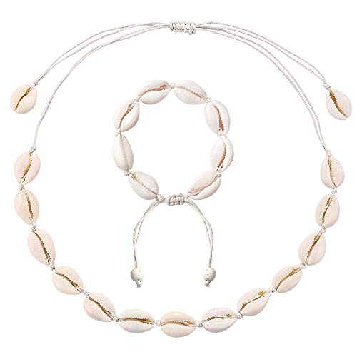 ASELFAD Natural Shell Choker Necklace and Bracelet Set Adjustable Handmade Cowrie Shell Boho Beach Jewelry for Women Girls (White Rope Choker and Bracelet Set-Adjustable) ()