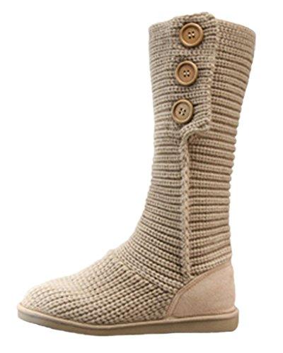 Tejer Minetom Botas Retro Botines Cardy Beige Clásico Mujer 3 Ganchillo de Zapatos Invierno Botones Otoño Caliente XXqar4