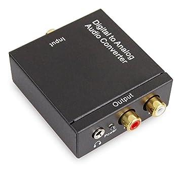 Convertidor de Audio Coaxial óptico Toslink Numerique a RCA Stereo analógica