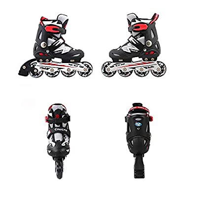 ZMCOV Inline Skate Roller Skate Blades with Adjustable Size and Flashing Light Up Wheel for Kids Boys Girls, Black and White, 34~37 : Sports & Outdoors