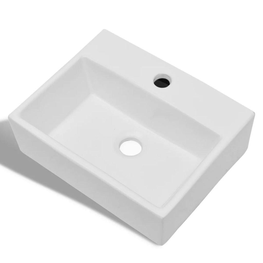 yorten Lavabo de Cer/ámica Cuadrado Dise/ño Moderno Orificio de Grifo y Desag/üe para Bano Blanco 380 x 300 x 115 mm