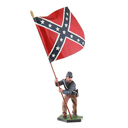 Tin Toy Soldier US Civil war Confederates Standard bearer hand painted metal sculpture miniature figurine 54mm - Painted Figure Statue