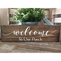 123RoyWarner Rustic Wood Sign Welcome to Our Porch Welcome Sign Home Decor Farmhouse Wreath