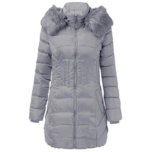Gris1 Femme Hiver Épais Manteaux À Fantaisiez Jacket Capuche Long Coton Col Slim Fourrure Manteau Poche De Parka Coat Femmes Chaud Pardessus Veste OnnP1Yv