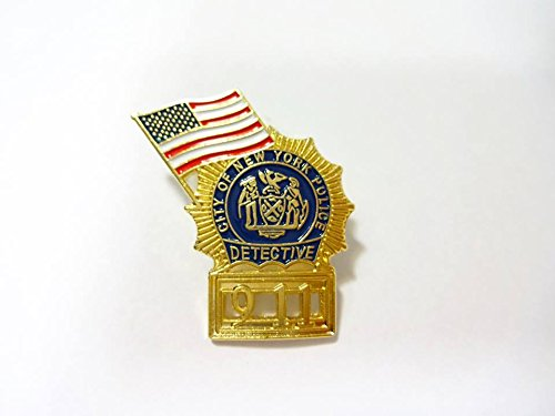 Detective 911 pin with American flag -