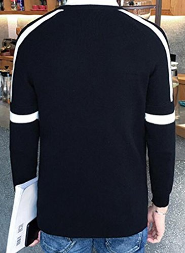 Outwear UK today Mens Black Sweater Sleeve Stripe Jumper Long Sweatshirt qXwwfdT