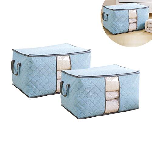 Anten® 2x Aufbewahrungsbox Aufbewahrungstasche aus Non Woven Tuch mit Bambus-Holzkohle Faltbare mit Deckel 60x42x32(Blau)
