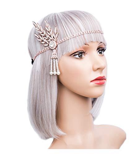 Art Deco 1920s Flapper Great Gatsby Leaf Wedding Bridal Tiara Pearl Headpiece Headband(gold) -