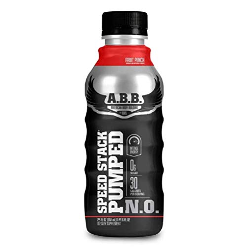 ABB Speed Stack Pumped N.O. Energy Drink, Pre Workout, Nitric Oxide, Arginine and Glycerol for Pumps, Flavor: Fruit Punch, 22 Ounce Bottle, 12 Count