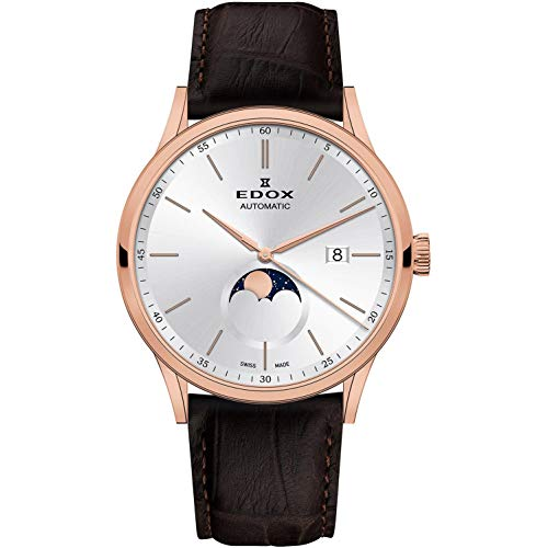 - Edox Men's Les Vauberts 42mm Brown Leather Band Steel Case Automatic Silver-Tone Dial Watch 80500 37R AIR