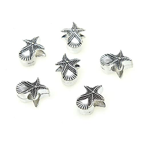 Monrocco 100 Pack Antique Silver Alloy Metal Seashell Starfish Spacer Beads Large Hole European Bracelet Charm Beads for Jewelry Making ()