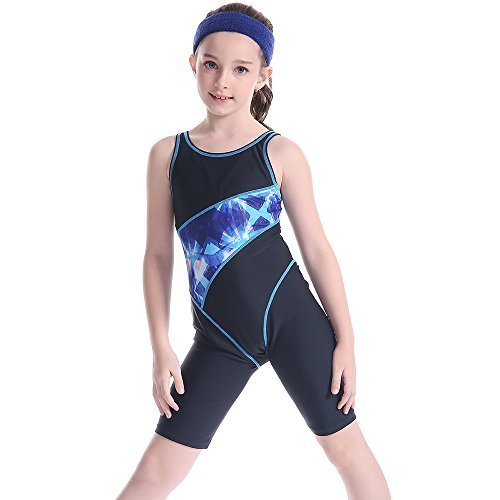 TenMet Girl's Competitive Swimming Surfing Racing Suits Swimsuit One Piece Knee Length Bathing Suit Training Surfing by TenMet