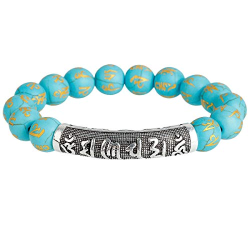 SUNYIK Six Syllable Mantra Stretch Bracelet, Handmade Blue Howlite Turquoise Bracelets for Women 7""