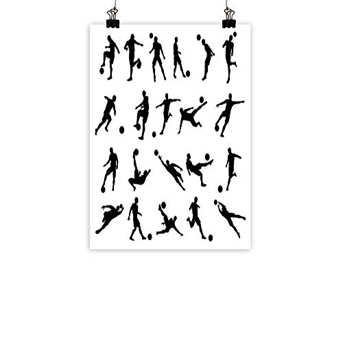 - BarronTextile Soccer Wall Art Decor Poster Painting Football Player Silhouettes Goalkeeper Striker Shooting Heading Volleying Saving Decorations Home DecorBlack White 31