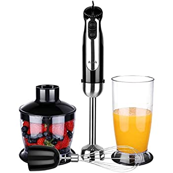 Aicok Immersion Blender, 4-in-1 Hand Blender Set, 5 Speed with 350W Stainless Steel Stick Blender, Food Processor, Whisk, Beaker for Soups, Sauce, Smoothie, Baby Food and Cakes, BPA Free