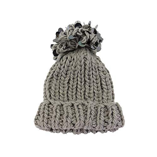 e Hombres Capucha Invierno de Sombrero de Lana Caliente Punto con los AiNaMei otoño de de Gray vY6wH
