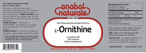 Anabol Naturals L-Ornithine 100 Caps 500 mg Free Form