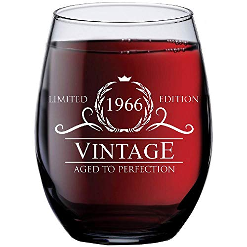 (1966 53rd Birthday Gifts for Women Men | 15 oz Stemless Wine Glass | 52 Year Old Gift Present Ideas for Mom Dad | Funny Vintage Unique Personalized | Party Anniversary Reunion Decorations Supplies )