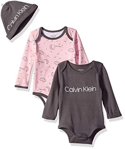 Calvin Klein Baby Girls Long Sleeve 2 Pack Bodysuit with Hat, Castlerock, CK Signature Pink, 6-12 Months
