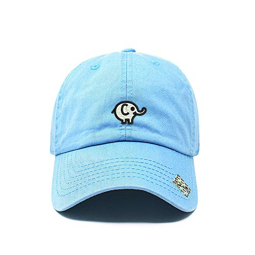 Elephant Dad Hat Cotton Baseball Cap Polo Style Low Profile 12 Colors (Sky)