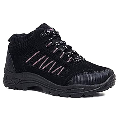 Womens Girls Hiking Walking Trail TREKING Rambling Boots Shoes Size 3-8 (8 UK, Black/Pink) 2