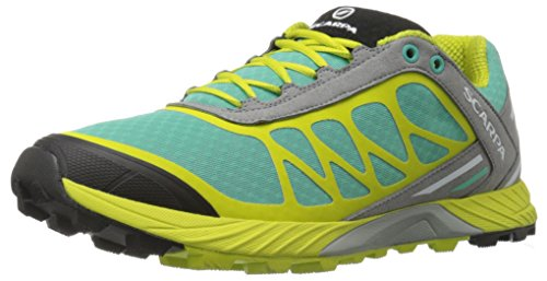 SCARPA Women's Atom Wmn Trail Running Shoe Trail Runner, Lagoon/Lime, 38 EU/7 M US by SCARPA