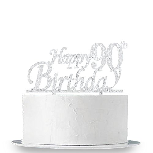 INNORU Happy 90th Birthday Cake Topper - 90 Happy Birthday Silver Glitter Party Cake Decorations by INNORU