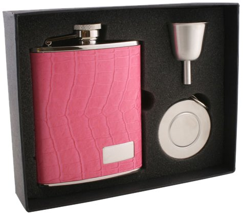 "Visol ""Splendid"" Leather Stellar Flask Gift Set, 6-Ounce, Pink"