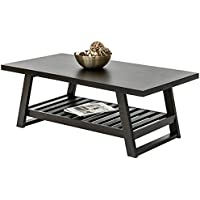 Best Choice Products Home Furniture Wood Coffee Table W/ Bottom Shelf- Dark Brown