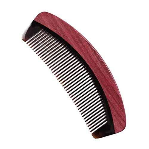 No Static Detangling Wooden Comb - Handmade Fine Tooth Hair Comb - Purpleheart Wood & Buffalo Horn Combs for Women , Men and Girls (Ox Horn Beard Comb)