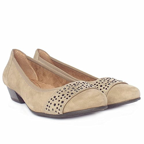 Jana Stamford Mujer Casual Wide Fit Zapatos En Gris Ante Beige - gris (Taupe Suede)