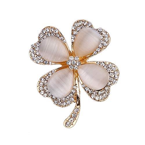 Chili Jewelry Lucky Four Leaf Clover Brooch Pin Lapel Pin Shawl Clip for Women Girls